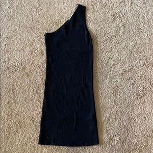 Zara knit one shoulder dress